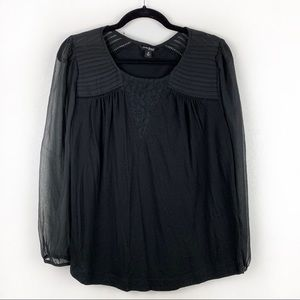 LUCKY BRAND Solid Black Long Sleeve Peasant Blouse